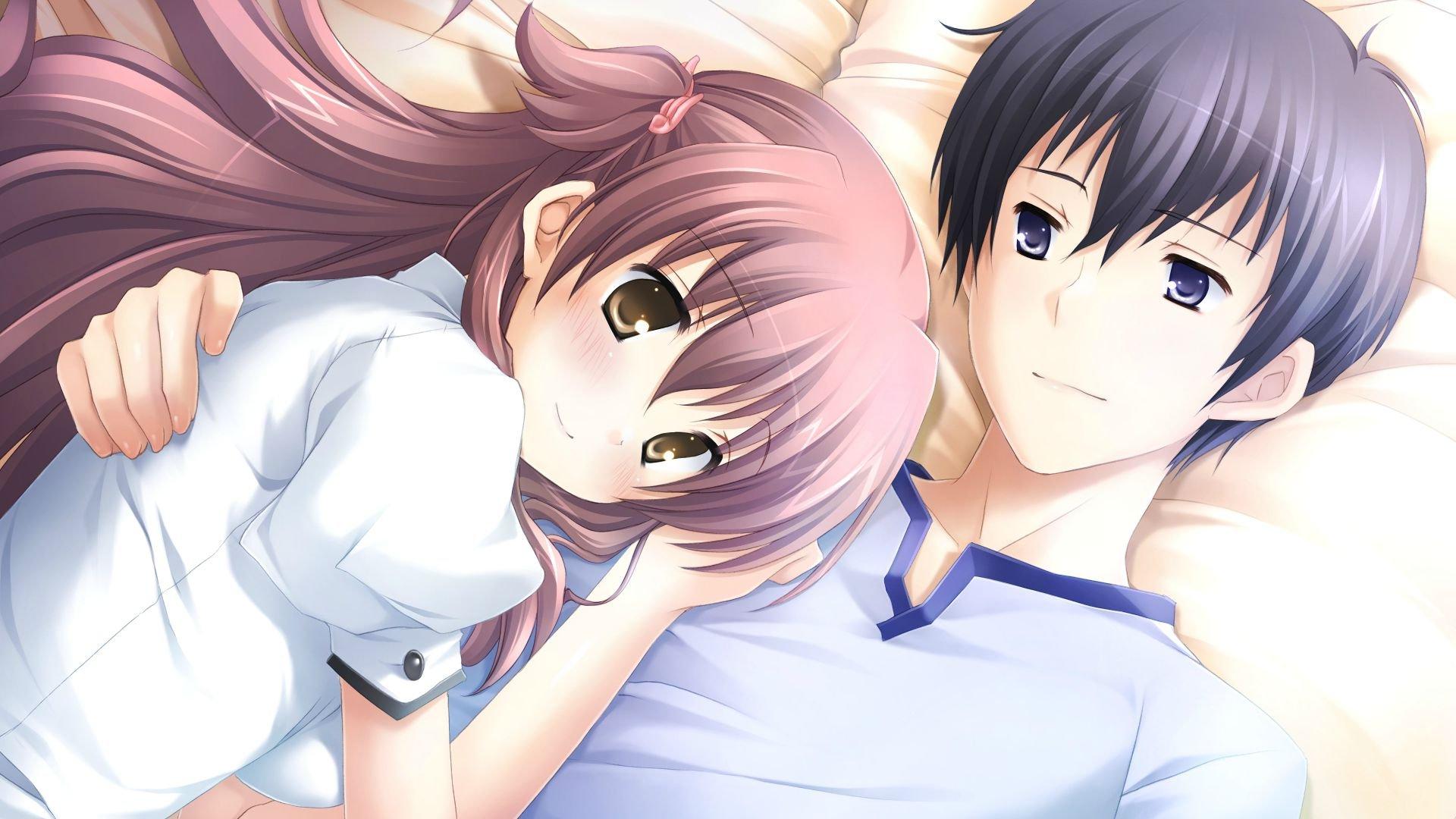 boy hugging Anime girl